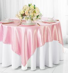 "72"" Square Satin Table Overlays - Pink 51105 (1pc/pk)"