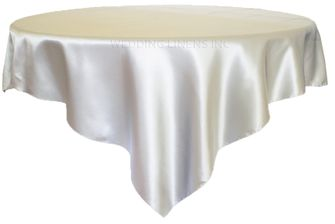 "72"" Square Satin Table Overlays - Platinum 51150 (1pc/pk)"