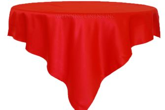 "72"" Square Satin Table Overlays - Red 51112 (1pc/pk)"