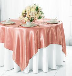 "72"" Square Satin Table Overlays - Rose Pink 51107 (1pc/pk)"