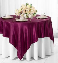 "72"" Square Satin Table Overlays - Sangria 51166 (1pc/pk)"