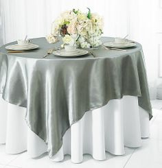 "72"" Square Satin Table Overlays - Silver 51140 (1pc/pk)"