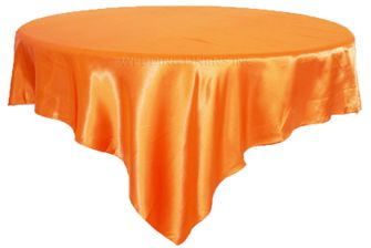 "72"" Square Satin Table Overlays -  Tangerine 51151 (1pc/pk)"