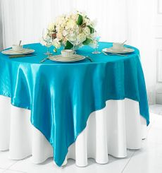 "72"" Square Satin Table Overlays - Turquoise 51185 (1pc/pk)"