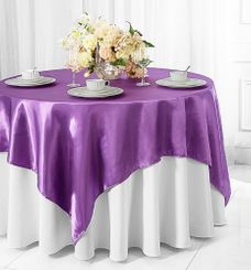 "72"" Square Satin Table Overlays - Victoria Lilac 51153 (1pc/pk)"