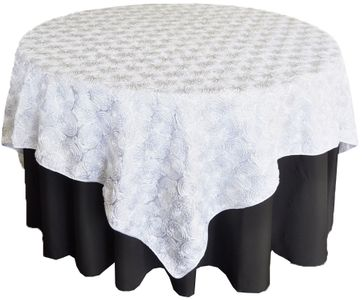 72x72 Square Satin Rosette Table Overlays (12 colors)