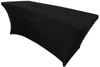 8 Ft Sequin Rectangular Spandex Table Cover - Black 00639 (1pc/pk)