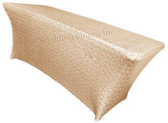 8 Ft Sequin Rectangular Spandex Table Cover - Champagne 00628 (1pc/pk)