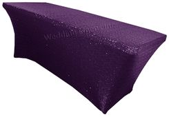 8 Ft Sequin Rectangular Spandex Table Cover - Eggplant 00645 (1pc/pk)