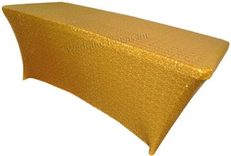 8 Ft Sequin Rectangular Spandex Table Cover - Gold 00627 (1pc/pk)