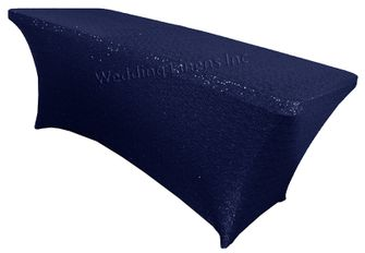 8 Ft Sequin Rectangular Spandex Table Cover - Navy Blue 00623 (1pc/pk)