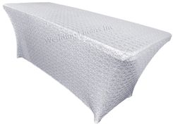 8 Ft Sequin Rectangular Spandex Table Cover - Platinum 00671 (1pc/pk)