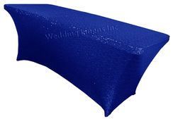 8 Ft Sequin Rectangular Spandex Table Cover - Royal Blue 00622 (1pc/pk)