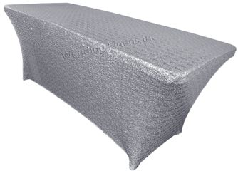 8 Ft Sequin Rectangular Spandex Table Cover - Silver 00640 (1pc/pk)