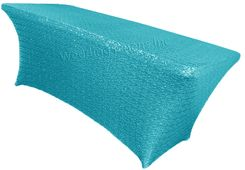 8 Ft Sequin Rectangular Spandex Table Cover - Turquoise 00685 (1pc/pk)
