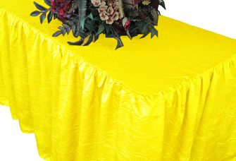 8' Rectangular Fitted Crushed Taffeta Ruffled Tablecloth With Skirt (30 Colors)