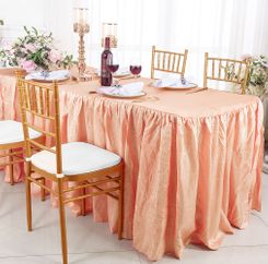 8' Rectangular Ruffled Fitted Crushed Taffeta Tablecloth With Skirt - Apricot/Peach 63531 (1pc/pk)