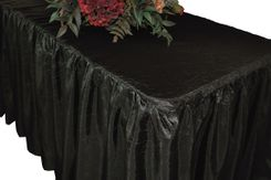 8' Rectangular Ruffled Fitted Crushed Taffeta Tablecloth With Skirt - Black 63539 (1pc/pk)