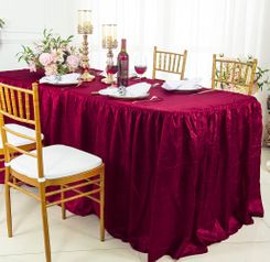 8' Rectangular Ruffled Fitted Crushed Taffeta Tablecloth With Skirt - Burgundy 63510 (1pc/pk)