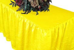 8' Rectangular Ruffled Fitted Crushed Taffeta Tablecloth With Skirt - Canary Yellow 63516 (1pc/pk)
