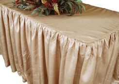 8' Rectangular Ruffled Fitted Crushed Taffeta Tablecloth With Skirt - Champagne 63528 (1pc/pk)