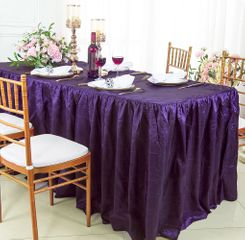 8' Rectangular Ruffled Fitted Crushed Taffeta Tablecloth With Skirt - Eggplant 63545 (1pc/pk)