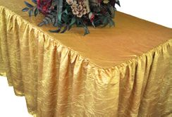 8' Rectangular Ruffled Fitted Crushed Taffeta Tablecloth With Skirt - Gold 63527 (1pc/pk)