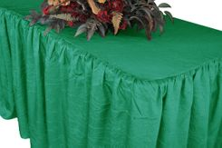 8' Rectangular Ruffled Fitted Crushed Taffeta Tablecloth With Skirt - Jade 63526 (1pc/pk)