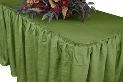 8' Rectangular Ruffled Fitted Crushed Taffeta Tablecloth With Skirt - Moss Green 63517 (1pc/pk)
