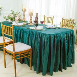 8' Rectangular Ruffled Fitted Crushed Taffeta Tablecloth With Skirt - Oasis 63558 (1pc/pk)