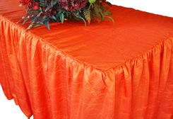 8' Rectangular Ruffled Fitted Crushed Taffeta Tablecloth With Skirt - Orange 63533 (1pc/pk)