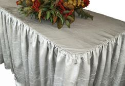 8' Rectangular Ruffled Fitted Crushed Taffeta Tablecloth With Skirt - Platinum 63550 (1pc/pk)