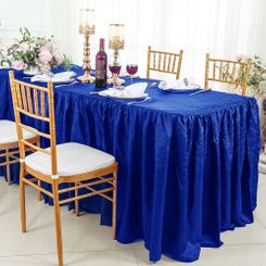 8' Rectangular Ruffled Fitted Crushed Taffeta Tablecloth With Skirt - Royal Blue 63522 (1pc/pk)