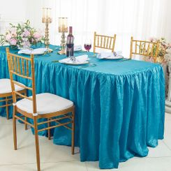 8' Rectangular Ruffled Fitted Crushed Taffeta Tablecloth With Skirt - Turquoise 63585 (1pc/pk)