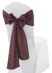 "8"" x 108"" Polyester Chair Sashes - Chocolate 52691 (10pcs/pk)"
