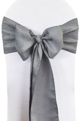 """8""""x108"""" Paillette Poly Flax Chair Sashes - Silver 10140 (1pc)"""