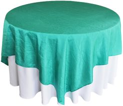 "85"" Square Crushed Crinkle Taffeta Table Overlays (33 Colors)"