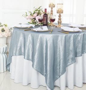 """85"""" Square Crushed Crinkle Taffeta Table Overlays (33 Colors)"""