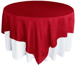 "85"" Square Crushed Taffeta Table Overlays - Apple Red 61508 (1pc/pk)"