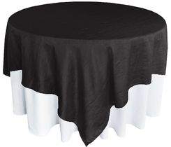 "85"" Square Crushed Taffeta Table Overlays - Black 61539 (1pc/pk)"