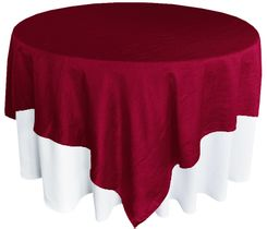 "85"" Square Crushed Taffeta Table Overlays - Burgundy 61510 (1pc/pk)"