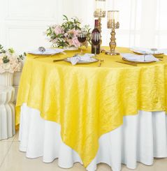 """85"""" Square Crushed Taffeta Table Overlays - Canary Yellow 61516 (1pc/pk)"""