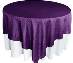"85"" Square Crushed Taffeta Table Overlays - Eggplant 61545 (1pc/pk)"