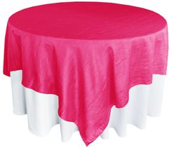 "85"" Square Crushed Taffeta Table Overlays - Fuchsia 61509 (1pc/pk)"