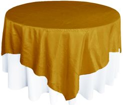 "85"" Square Crushed Taffeta Table Overlays - Gold 61527 (1pc/pk)"