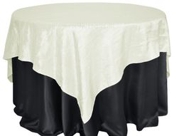 "85"" Square Crushed Taffeta Table Overlays - Ivory 61502 (1pc/pk)"