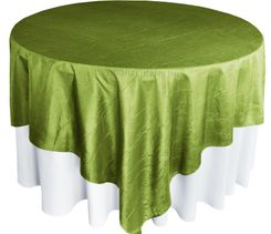 "85"" Square Crushed Taffeta Table Overlays - Moss Green 61517 (1pc/pk)"