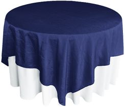 "85"" Square Crushed Taffeta Table Overlays - Navy Blue 61523 (1pc/pk)"