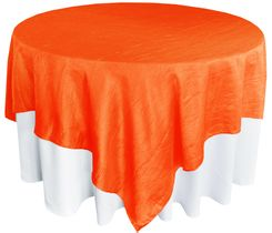"85"" Square Crushed Taffeta Table Overlays - Orange 61533 (1pc/pk)"
