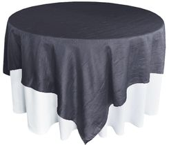 "85"" Square Crushed Taffeta Table Overlays - Pewter 61560 (1pc/pk)"
